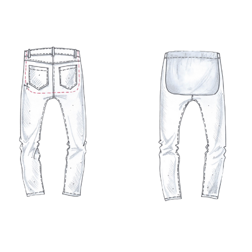 Side by side how to illustrations. On the left, denim jeans with a cutting pattern around the belt loops and 2 rear pockets. On the right, denim jeans with a smooth flap lays over the pockets and belt loops.