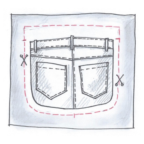 Illustration. A cutout of the backside of denim jeans. Belt loops and 2 rear pockets are surrounded by a cutting pattern.