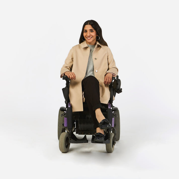 Junction Trenchcoat in a Wheelchair Cut with Magnetic Closures - IZ Adaptive