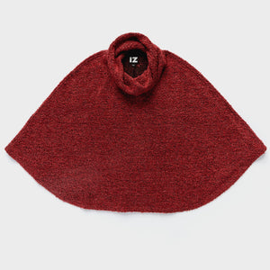 Cowl Neck Boucle Cape in Textured Wool Blend