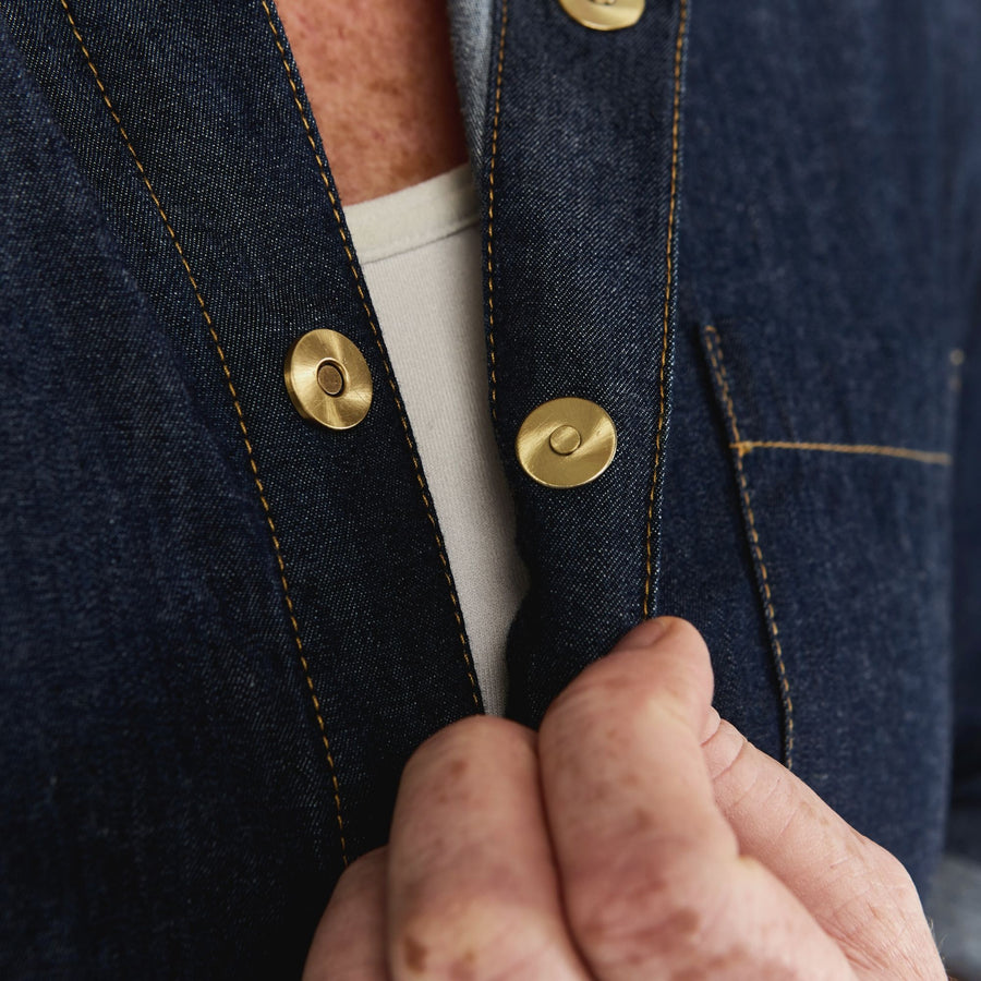 Classic Denim Shirt with Magnetic Closures