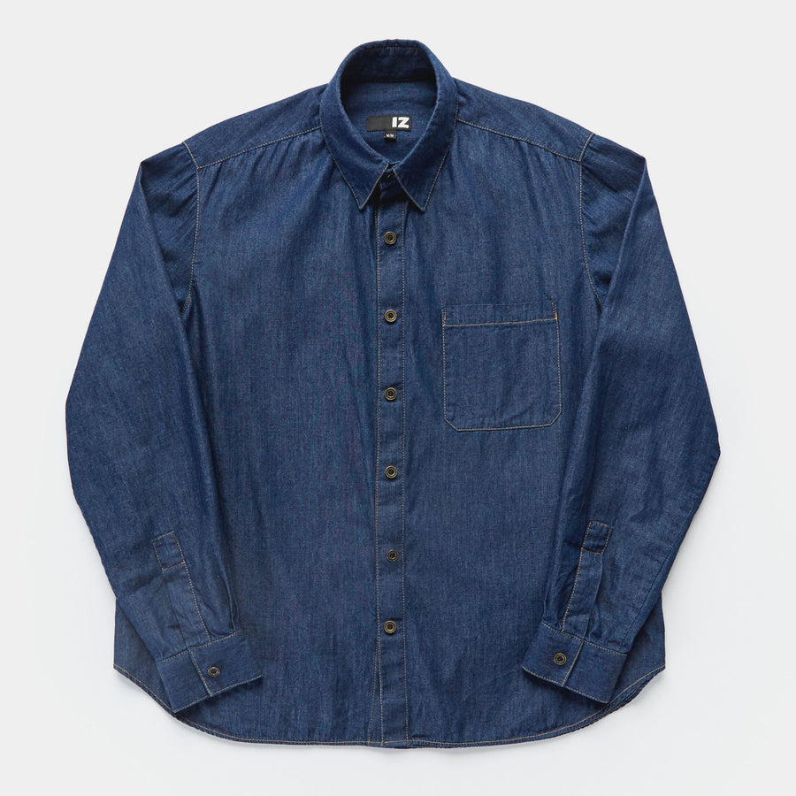 Classic Long Sleeve Denim Shirt with Magnetic Closures