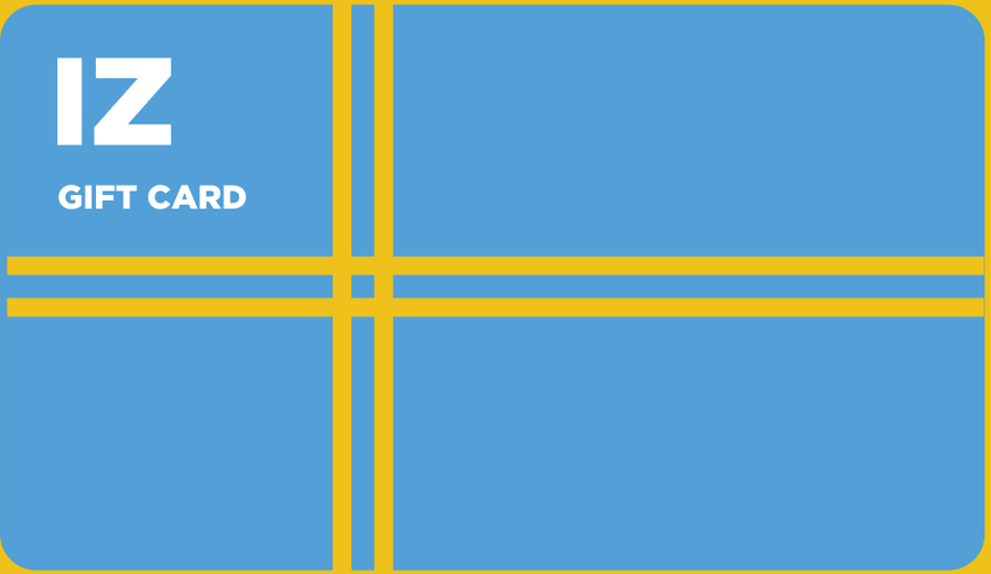 "Yellow background. Blue gift card with yellow cross in the shape of a present ribbon. In the upper corner, text that reads: ""IZ Gift Card."""
