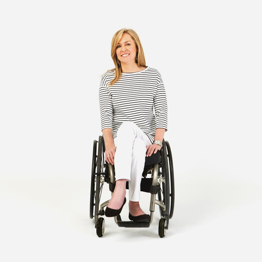 Dundas Slim leg stretch jean in a wheelchair cut