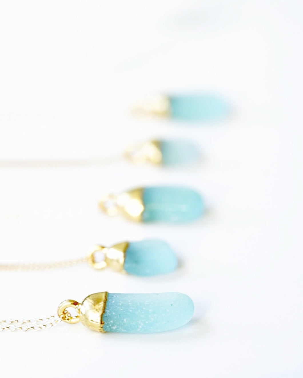 24k Gold-Dipped Sea Foam Green Sea Glass Necklace