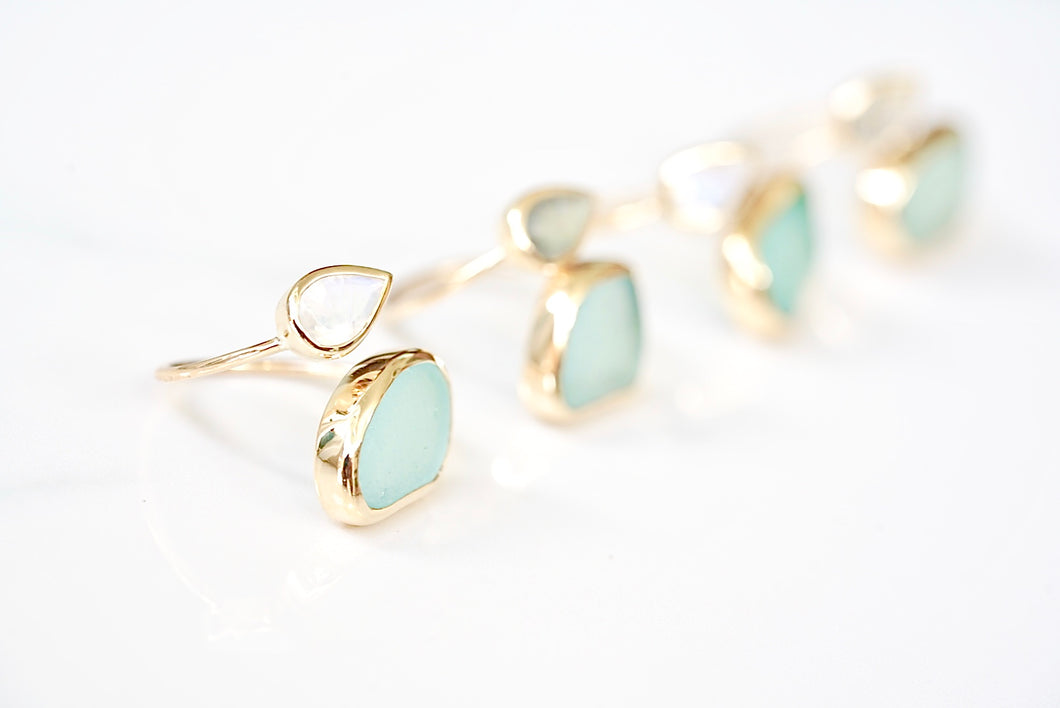 Gold Sea Glass 'Mika' Ring