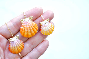 24k Gold-Dipped Natural Sunrise Shell Pair Necklace