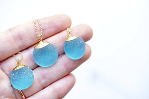 Large 24k Gold-Dipped Blue Sea Glass Necklace