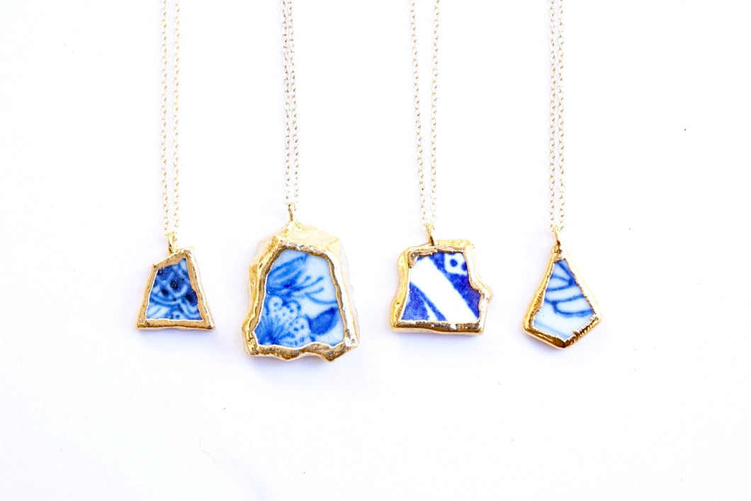 24k Gold-Dipped Sea Pottery Necklace