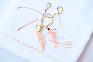 Pink Coral Branch Threader Earrings