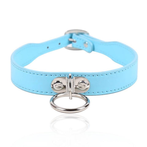 Pink/Blue Choker with Metal Ring