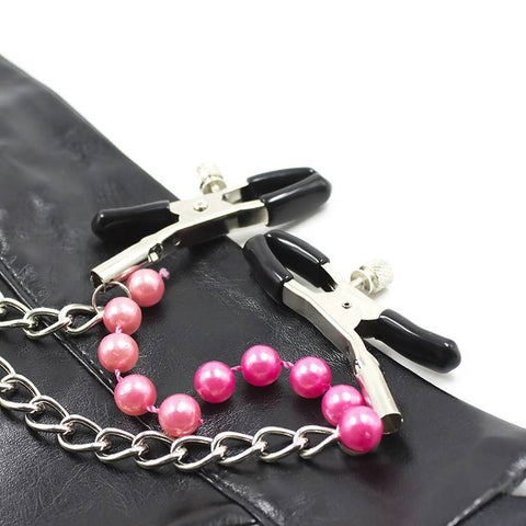 Nipple Clamps with Chain and Beads