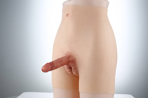 Full Silicone Penis Extension Underwear For Men in White