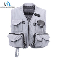 Maximumcatch Fly Fishing Vest Free Size Clearwater Gray Multi-pocket Pouches Outdoor Ultra Light Fly Vest