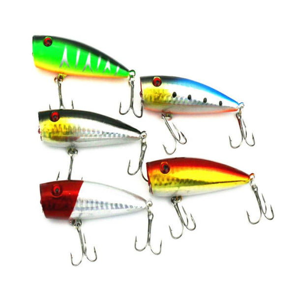 5pc 7cm Fishing Topwater Floating Popper Poper Lure Hooks fishing bait lures #YL