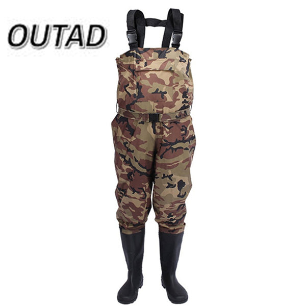 New Camouflage Thicker Waterproof Fishing Boots Pants Breathable Waders