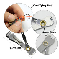 SAMSFX Quick Knot Tool Fishing Nipper Fly Line Cutter Clippers Tie Fast Nail Knot Tying Tool w/ Zinger Retractor Snips Tackle
