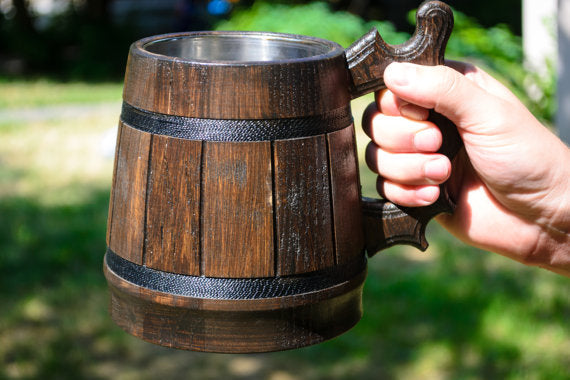 Large Dark Wood Individually Made Handmade Mug