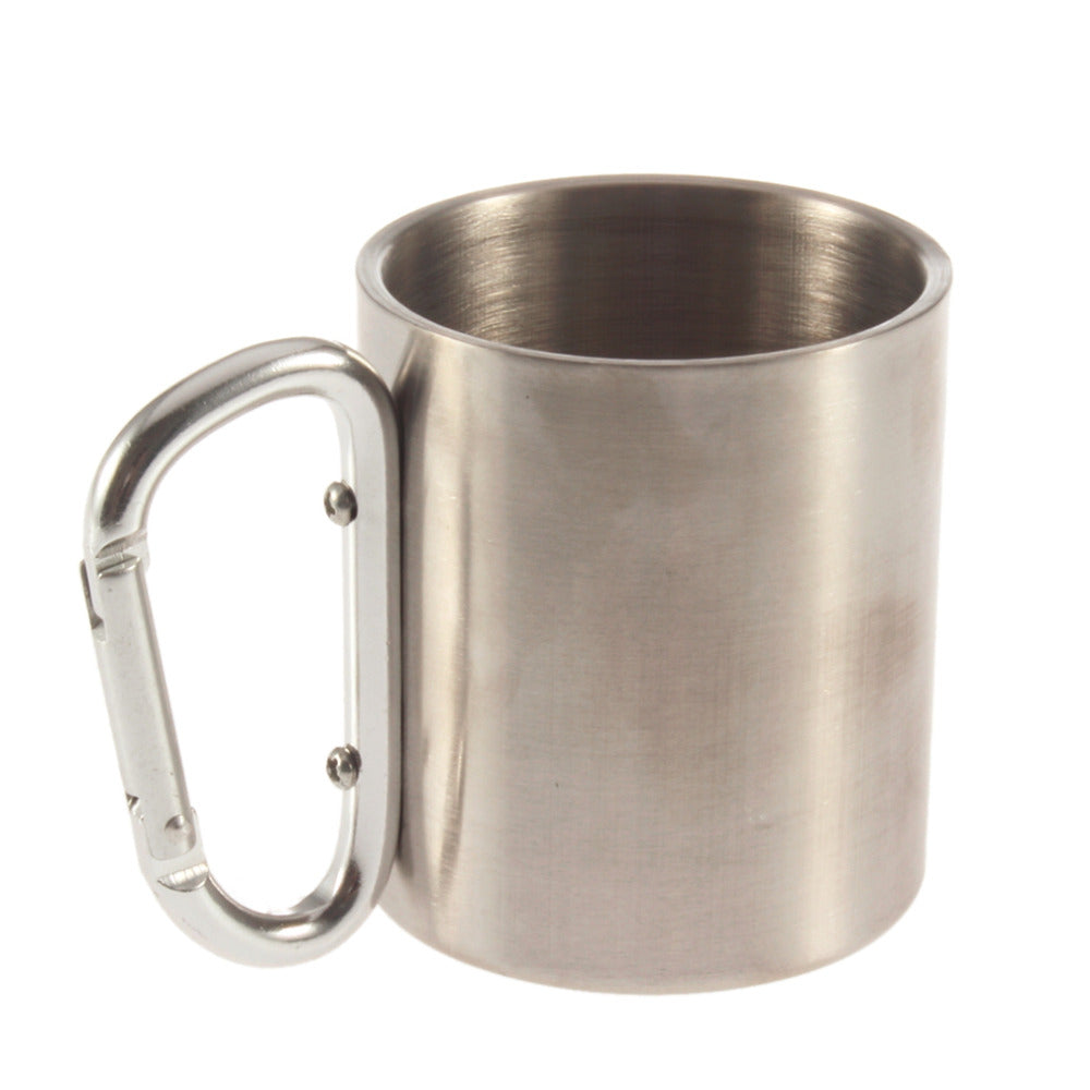 220ml Stainless Steel Camping Kettle with Carabiner Hook