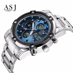 Men's water resistant  army style quartz watch with stainless steel band perfect with business attire