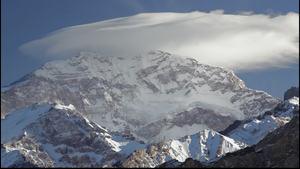 "Aconcagua summit, covered by the ""White Storm (Viento Blanco)"""