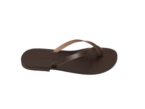 JENNA flip flop — dark brown leather