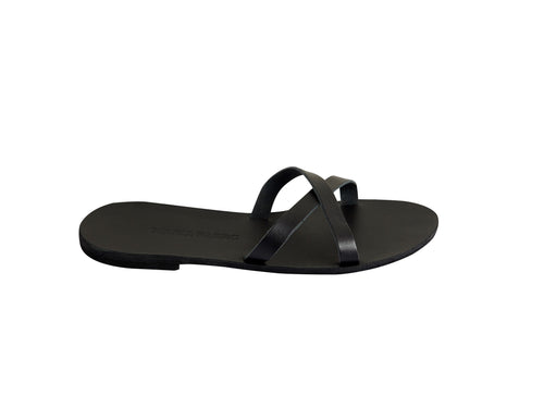 ZIA slide — black leather