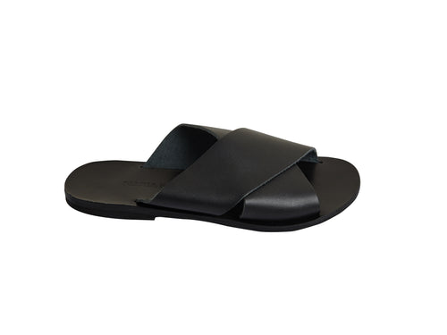 ZOE slides — black leather
