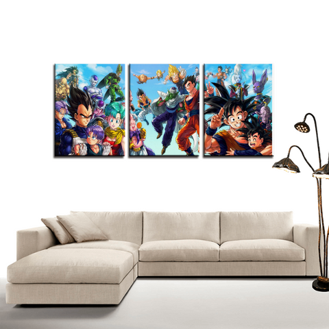 Dragon Ball Japan Anime Theme 3pc Canvas Wall Art Decor - Game Geek Shop