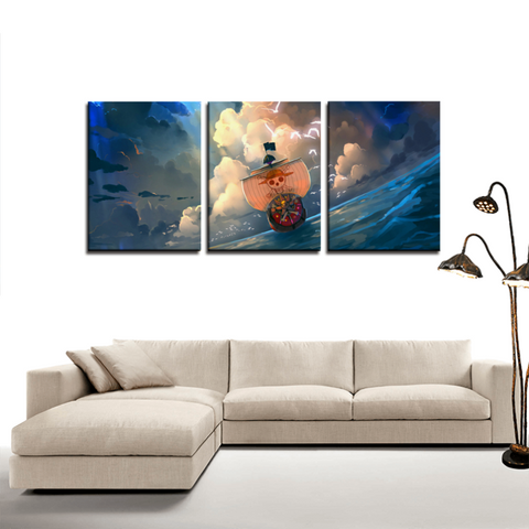 One Piece Thousand Sunny Anime 3pc Canvas Wall Art Decor - Game Geek Shop