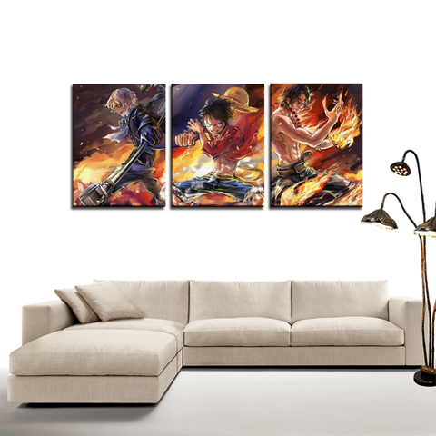 One Piece Luffy Portgas D.Ace Sabo 3pc Canvas Wall Art Decor - Game Geek Shop