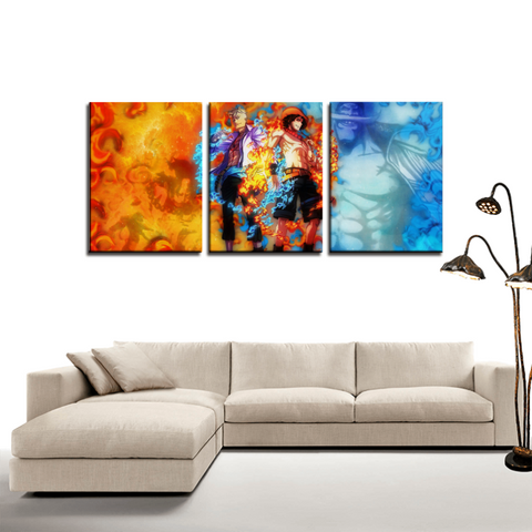 One Piece Portgas D.Ace Marco Theme 3pc Canvas Wall Art Decor - Game Geek Shop