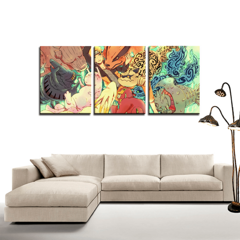 Naruto The Tailed Beasts Bijuu 3pc Canvas Wall Art Decor - Game Geek Shop