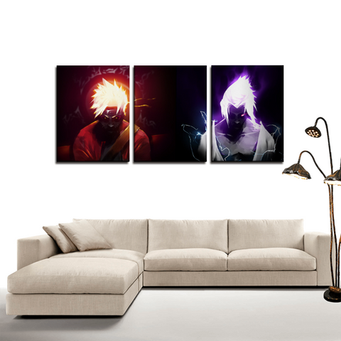 Naruto Sage Mode Sasuke Chidori 3pc Canvas Wall Art Decor - Game Geek Shop
