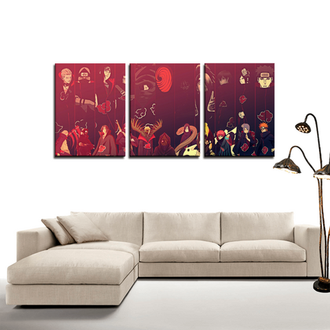 Naruto Akatsuki Japan Anime Theme 3pc Canvas Wall Art Decor - Game Geek Shop