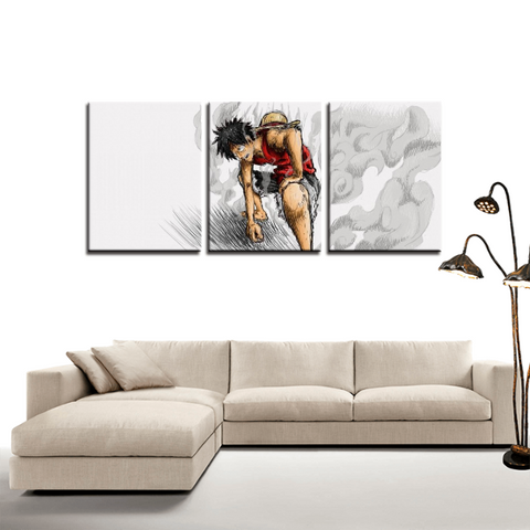 One Piece Luffy Gear Second Theme 3pc Canvas Wall Art Decor - Game Geek Shop