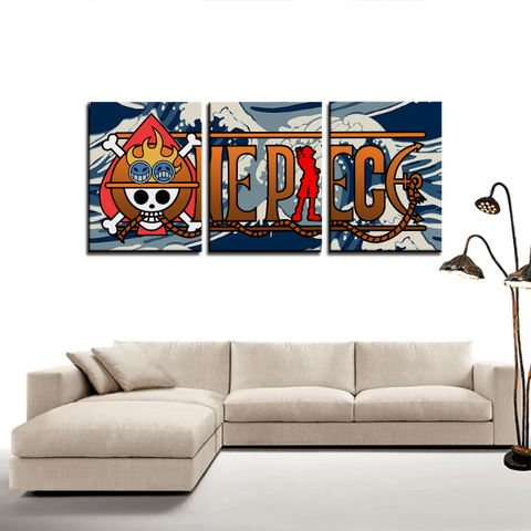One  Piece Logo Japan Anime Theme 3pc Canvas Wall Art Decor - Game Geek Shop