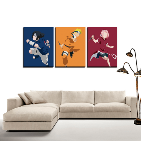 Naruto Sasuke Naruto Sakura 3pc Canvas Wall Art Decor - Game Geek Shop