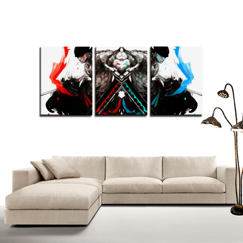 One Piece Zoro Artwork Anime 3pc Canvas Wall Art Decor - Game Geek Shop