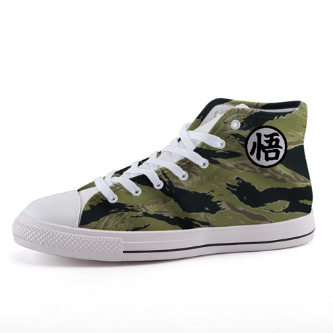 Dragon Ball Camo Tiger Stripe Goku Kanji Sneaker Shoes - Game Geek Shop