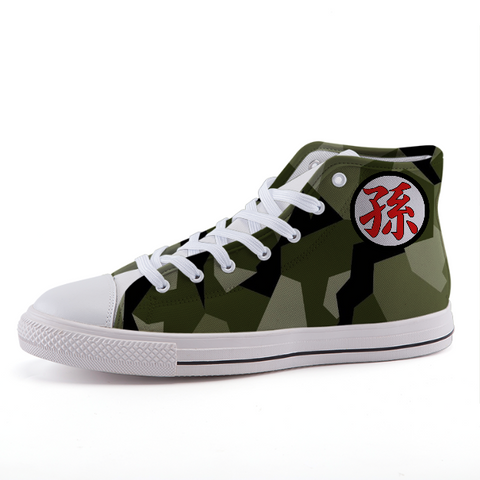 Dragon Ball Geometric Camo Gohan Kanji Sneaker Shoes - Game Geek Shop