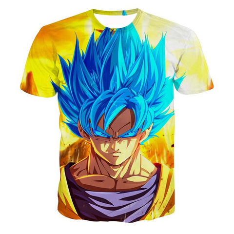Dragon Ball Goku SSGSS God Blue Anime Design T-Shirt - Game Geek Shop