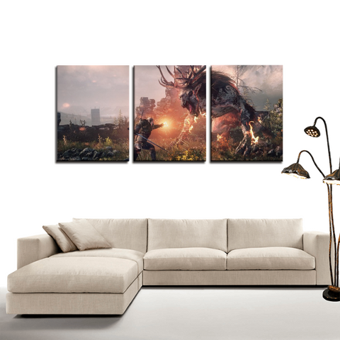 The Witcher Geralt Fiend Fight 3pc Canvas Wall Art Decor - Game Geek Shop