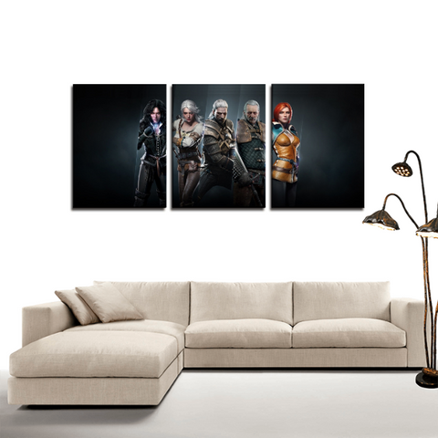 The Witcher Wild Hunt Characters 3pc Canvas Wall Art Decor - Game Geek Shop
