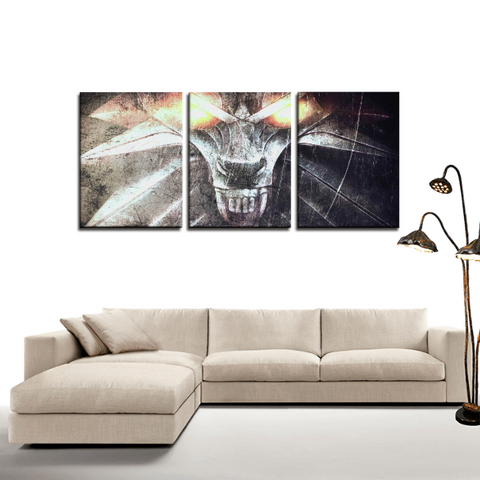 The Witcher Wolf Medallion Retro 3pc Canvas Wall Art Decor - Game Geek Shop