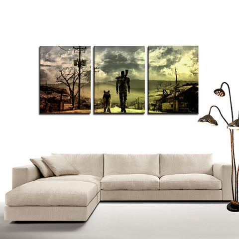 Fallout Home Coming Vibrant Design 3pc Canvas Wall Art Decor - Game Geek Shop