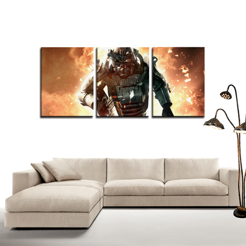 Fallout Power Armor Epic Design 3pc Canvas Wall Art Decor - Game Geek Shop