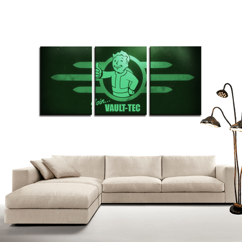 Fallout Vault Tech Screen 3pc Canvas Wall Art Decor - Game Geek Shop
