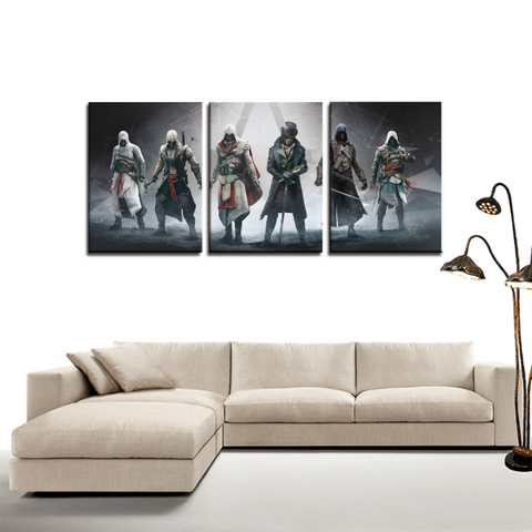 Assassin's Creed Characters Cool 3pc Canvas Wall Art Decor - Game Geek Shop