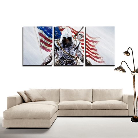 Assassin's Creed 3 America Revolution 3pc Canvas Wall Art Decor - Game Geek Shop
